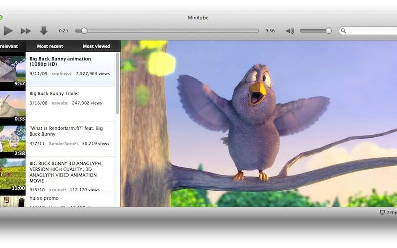 Скриншот 1 программы Minitube