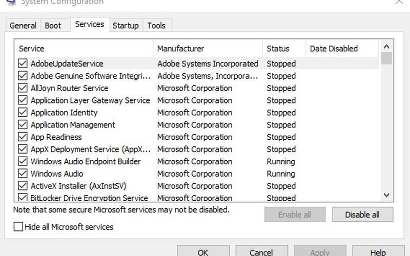 Скриншот 1 программы MSConfig