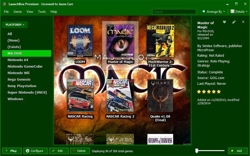 Скриншот 1 программы LaunchBox