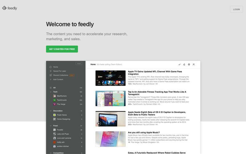 Скриншот 1 программы Feedly