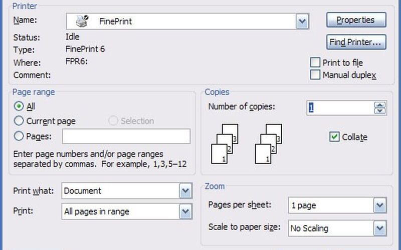 Скриншот 1 программы FinePrint