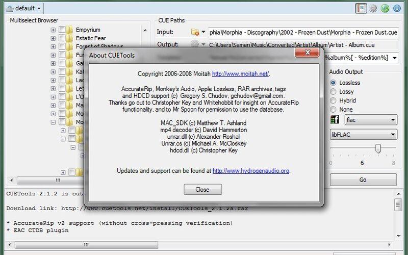 Скриншот 1 программы CUETools