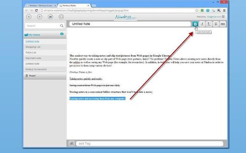 Скриншот 1 программы Nimbus Note