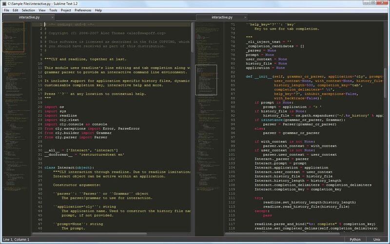 Скриншот 1 программы Sublime Text