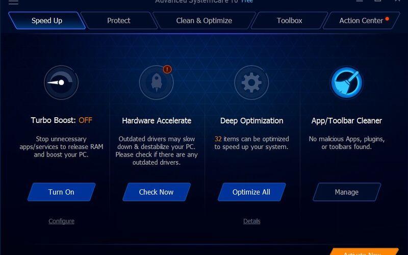 Скриншот 1 программы Advanced SystemCare