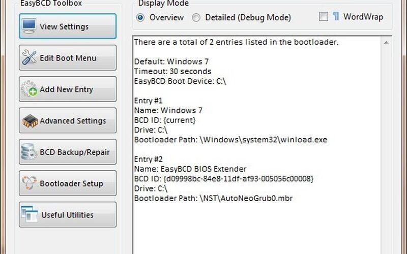 Скриншот 1 программы EasyBCD
