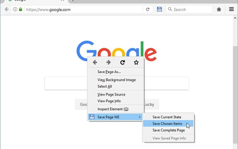 Скриншот 1 программы Save Page WE