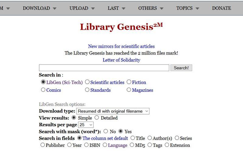 Скриншот 1 программы Library Genesis