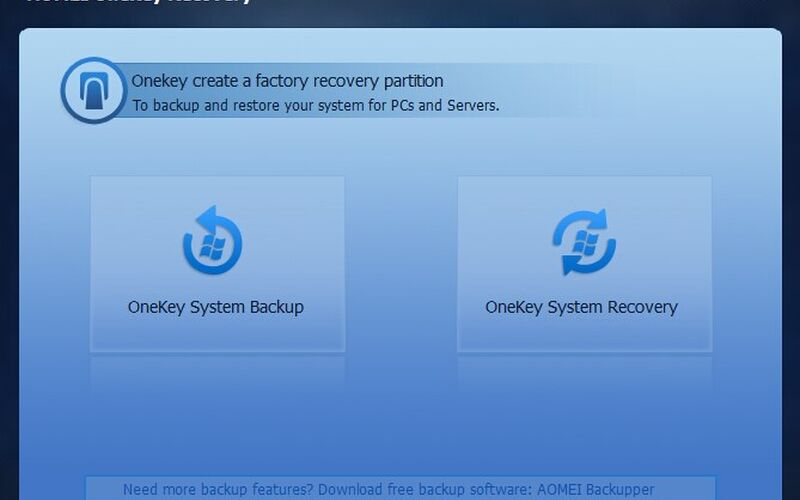 Скриншот 1 программы AOMEI OneKey Recovery