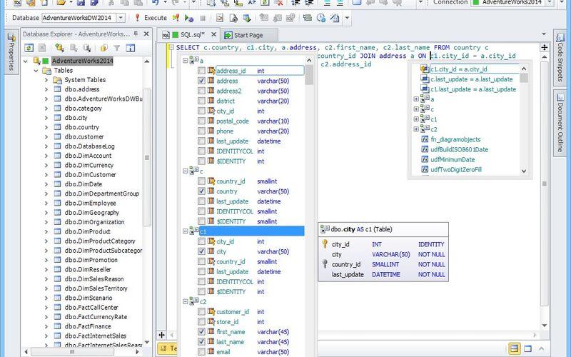 Скриншот 1 программы dbForge Studio for SQL Server