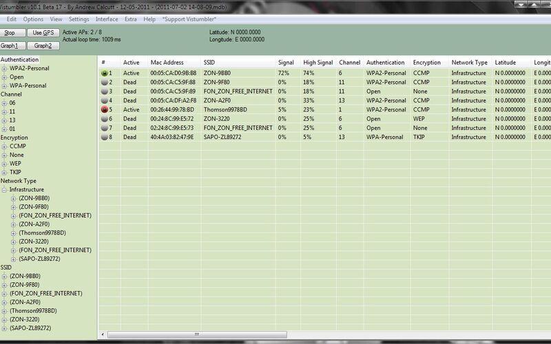 Скриншот 1 программы Vistumbler