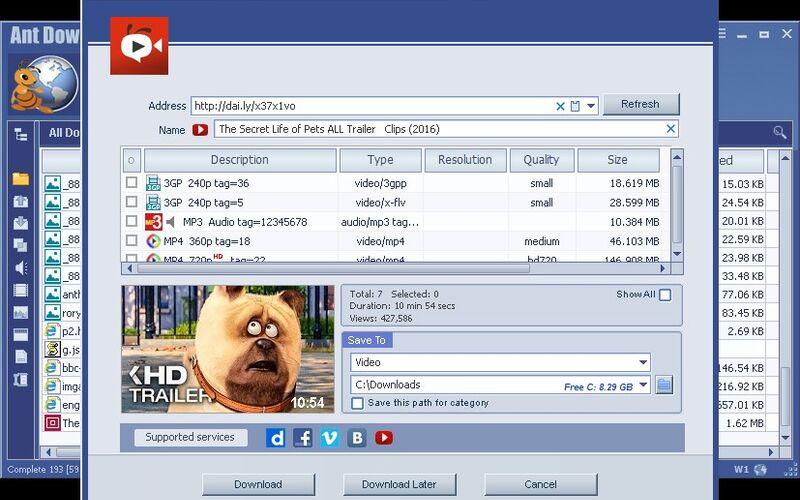 Скриншот 1 программы Ant Download Manager & Video Downloader