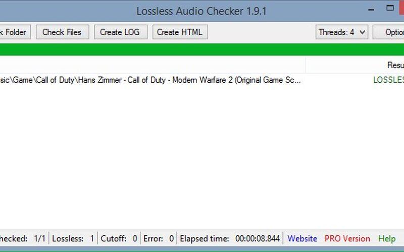 Скриншот 1 программы Lossless Audio Checker