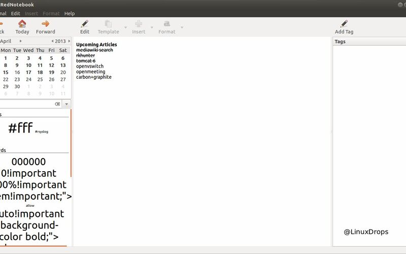Скриншот 1 программы RedNotebook