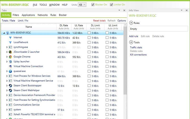 Скриншот 1 программы NetLimiter