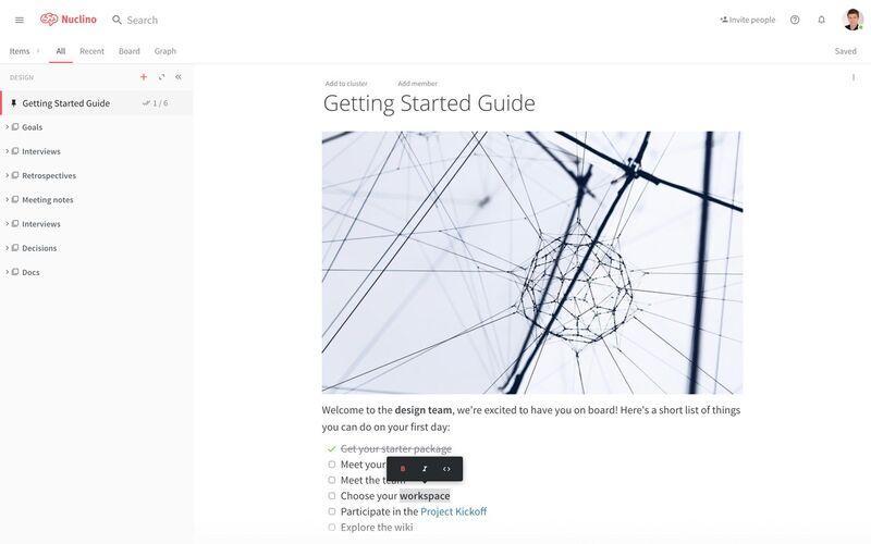 Скриншот 1 программы Nuclino