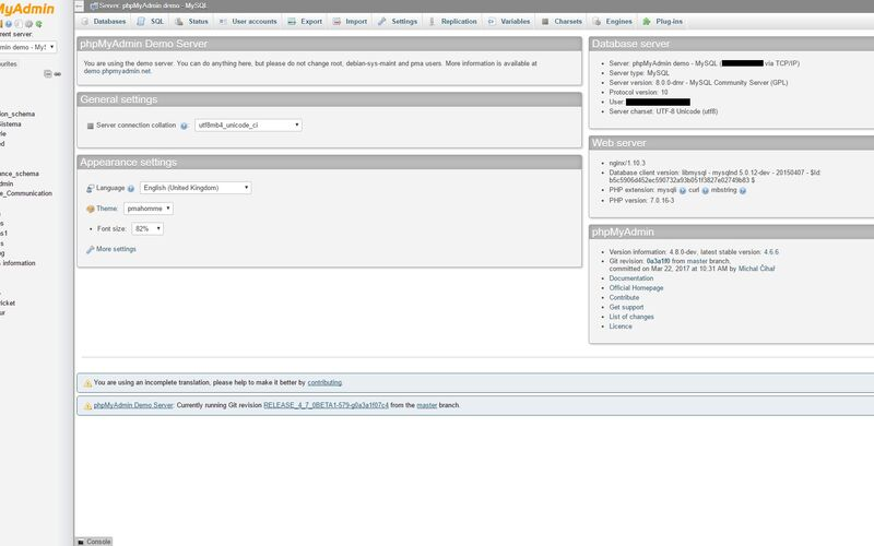 Скриншот 1 программы phpMyAdmin