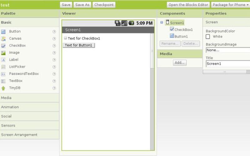 Скриншот 1 программы MIT App Inventor