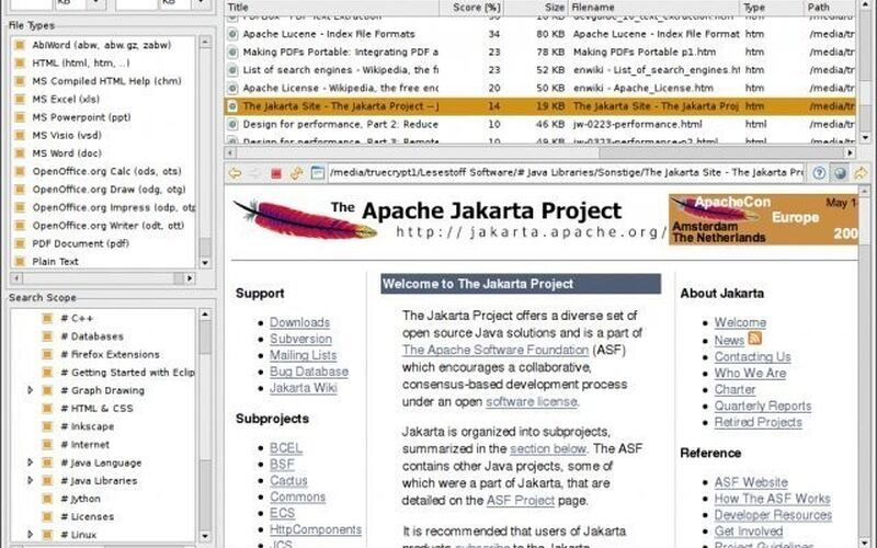Скриншот 1 программы DocFetcher