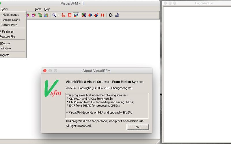 Скриншот 1 программы VisualSfM