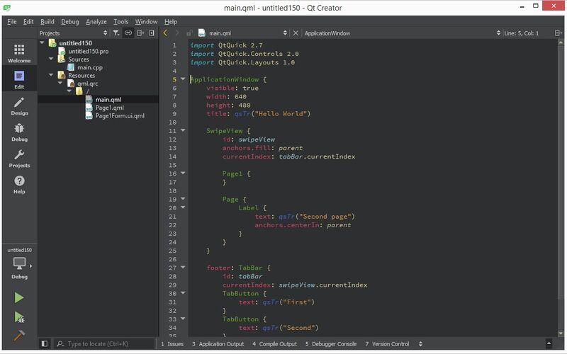 Скриншот 1 программы Qt Creator