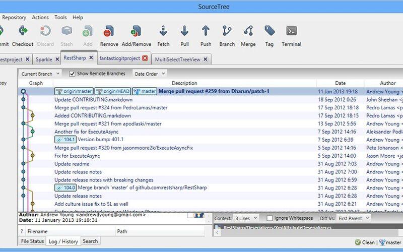 Скриншот 1 программы SourceTree