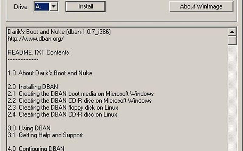 Скриншот 1 программы Darik's Boot and Nuke