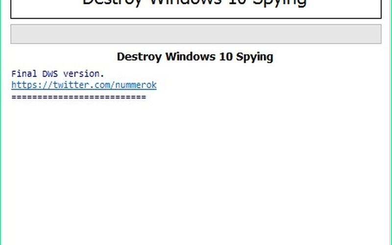 Скриншот 1 программы Destroy Windows Spying
