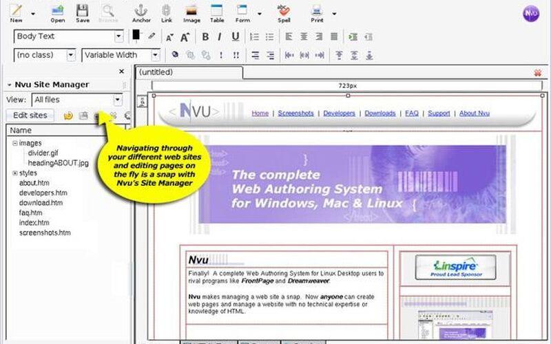 Скриншот 1 программы NVU