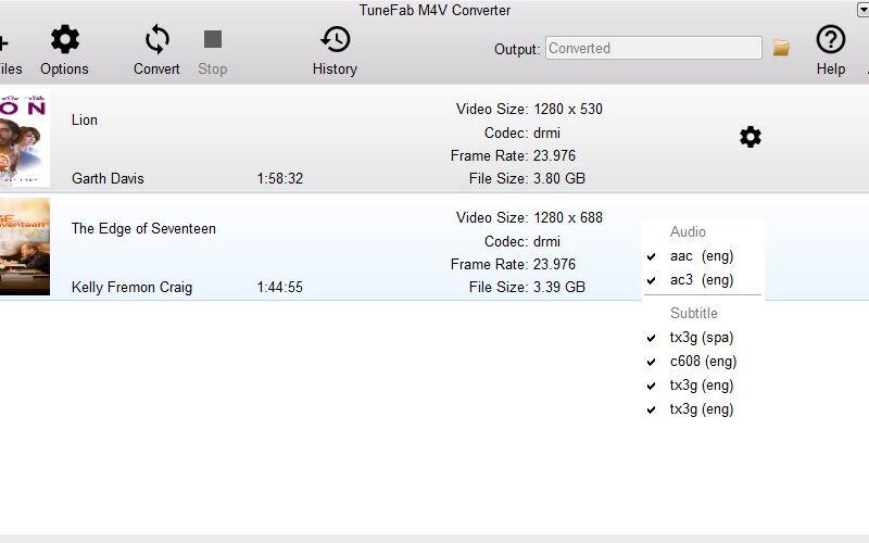 Скриншот 1 программы TuneFab M4V Converter
