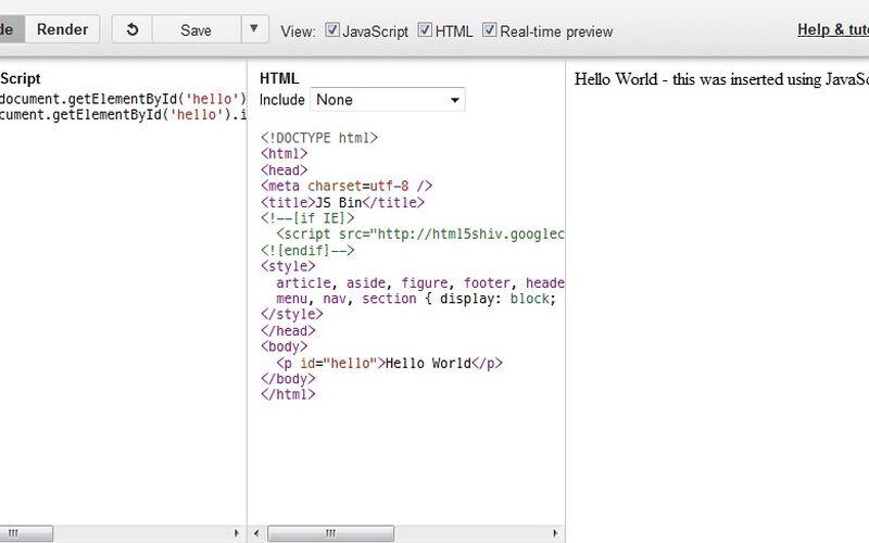 Скриншот 1 программы JS Bin