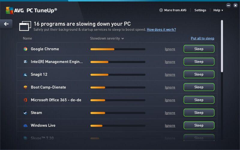 Скриншот 1 программы AVG PC TuneUp