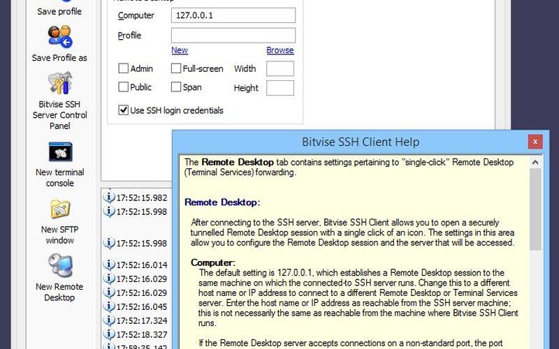 Скриншот 1 программы Bitvise SSH Client