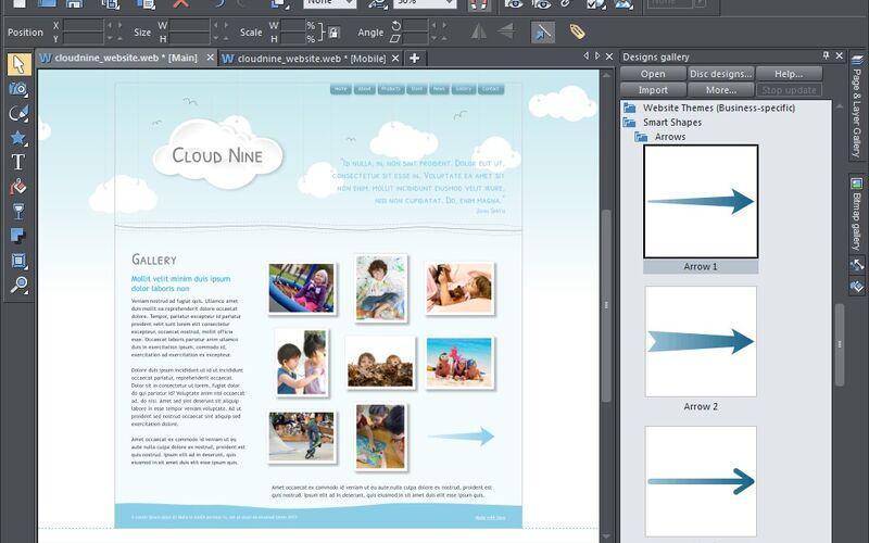 Скриншот 1 программы Xara Web Designer