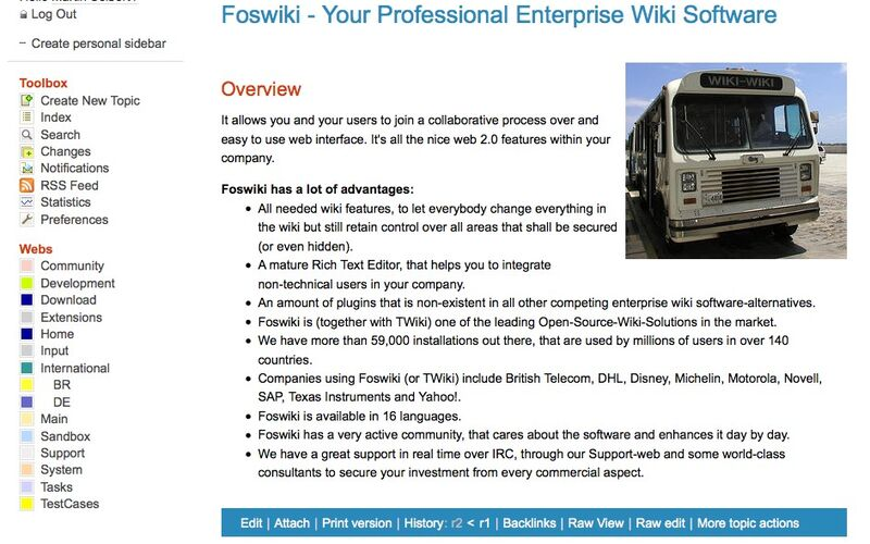 Скриншот 1 программы Foswiki