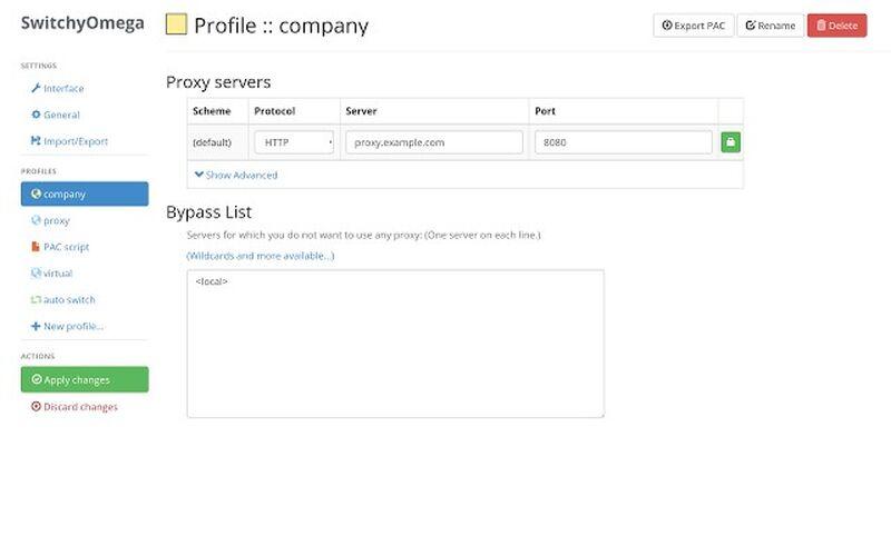 Скриншот 1 программы Proxy SwitchyOmega