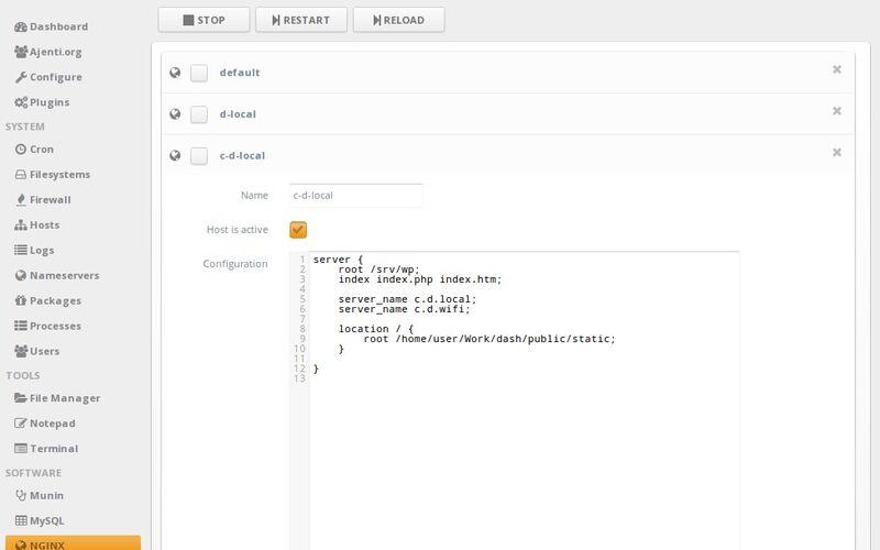 Скриншот 1 программы Ajenti