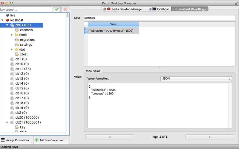 Скриншот 1 программы Redis Desktop Manager