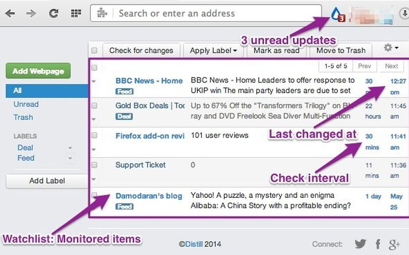 Скриншот 1 программы Distill Web Monitor
