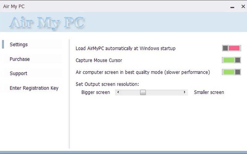 Скриншот 1 программы AirMyPC