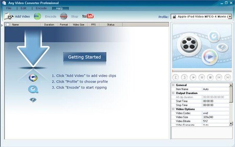 Скриншот 1 программы Any Video Converter