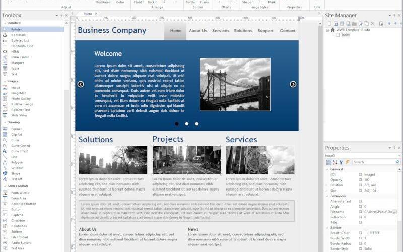 Скриншот 1 программы WYSIWYG Web Builder