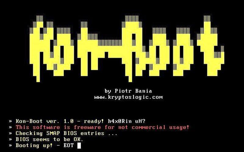 Скриншот 1 программы Kon-Boot