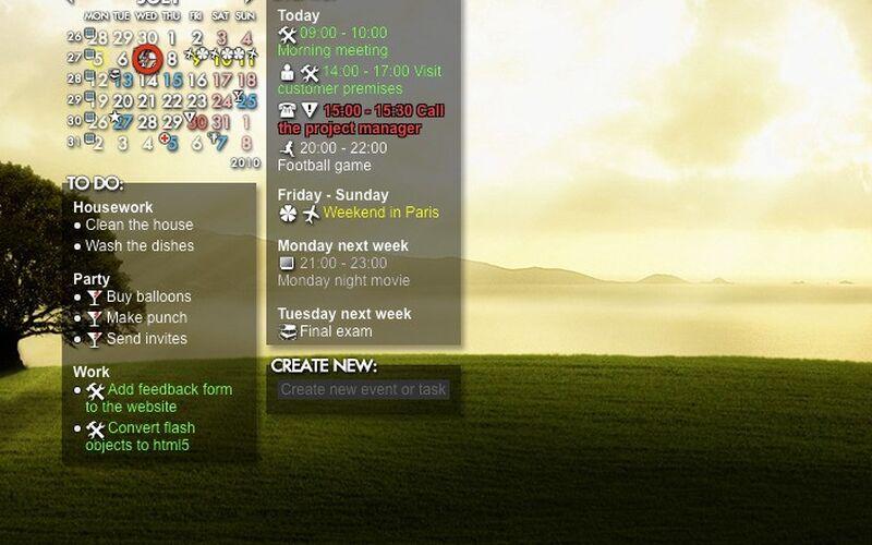 Скриншот 1 программы Rainlendar