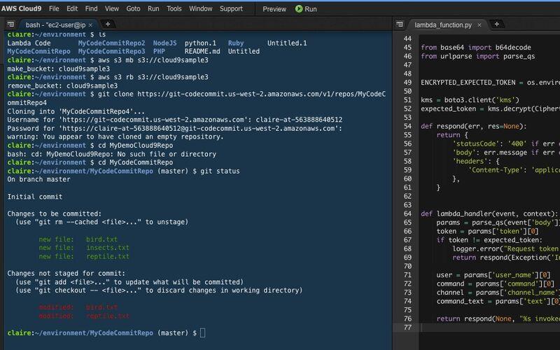 Скриншот 1 программы AWS Cloud9