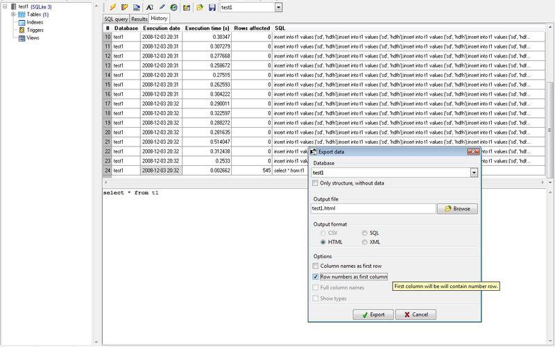 Скриншот 1 программы SQLiteStudio