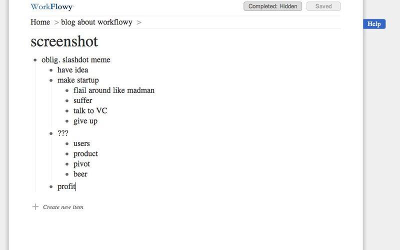 Скриншот 1 программы WorkFlowy