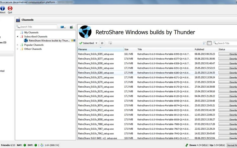 Скриншот 1 программы RetroShare