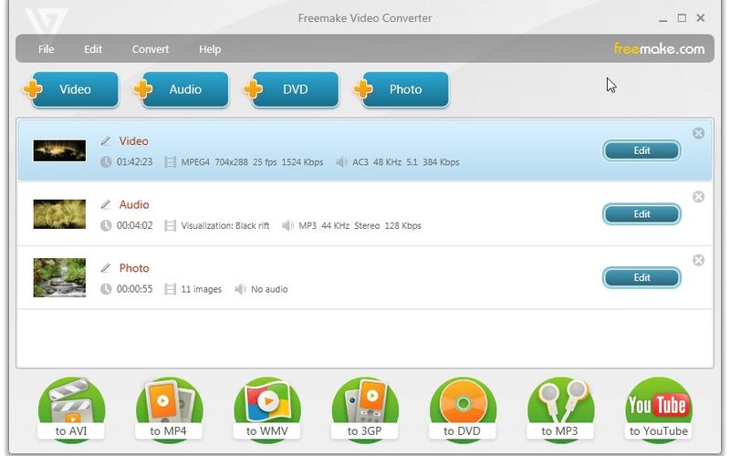 Скриншот 1 программы Freemake Video Converter