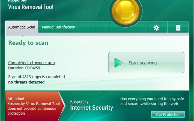 Скриншот 1 программы Kaspersky Virus Removal Tool